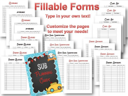 Easy Printable Sub Planning Guide for Preschool and Kindergarten