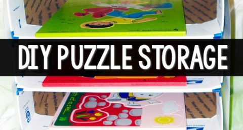 DIY Puzzle Storage for Preschool Classroom
