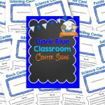 Printable Blue Classroom Center Signs