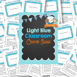 Printable Light Blue Classroom Center Signs