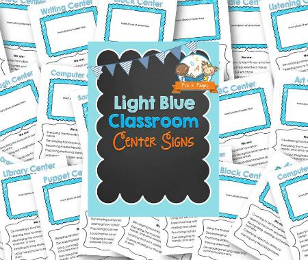Printable Light Blue Classroom Center Signs