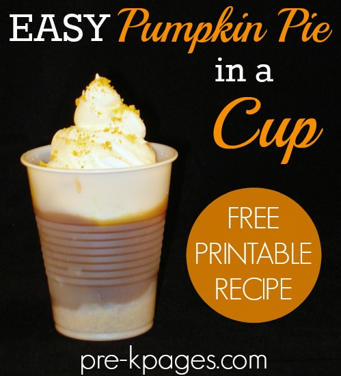 Easy Pumpkin Pie in a Cup Printable Recipe for Classroom Parties