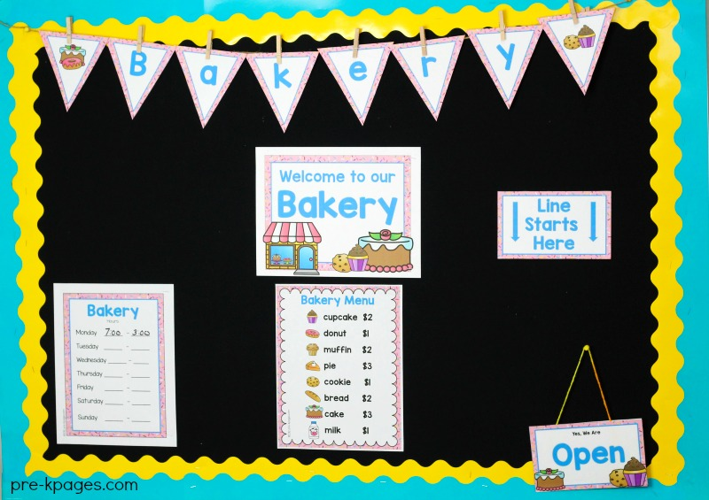 Bakery Dramatic Play Printables for Preschool and Kindergarten