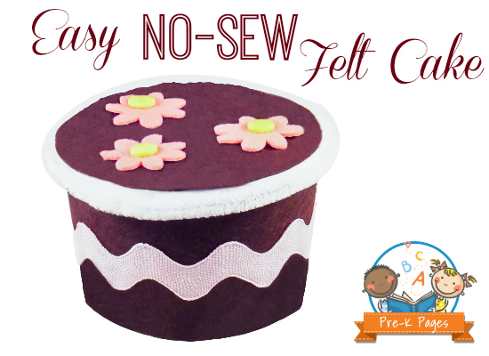 Make an Easy No-Sew Felt Cake with margarine tub