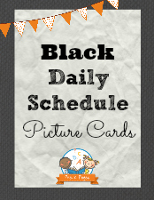 Picture Schedule Cards – Black