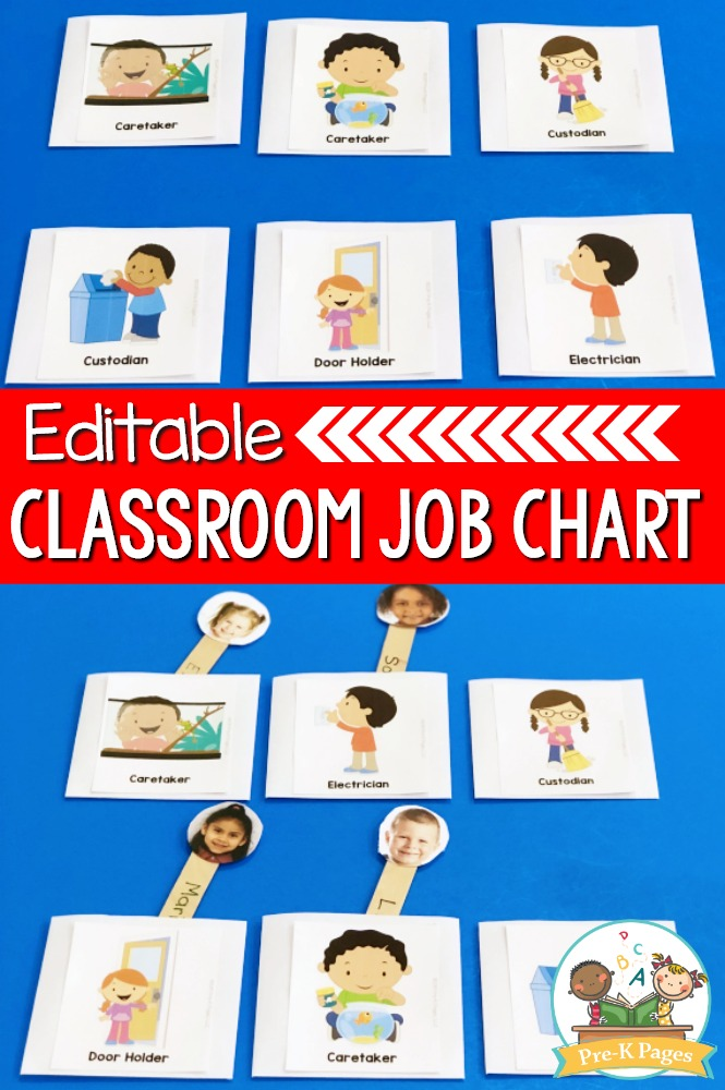 Editable Job Chart for Preschool and Pre-K