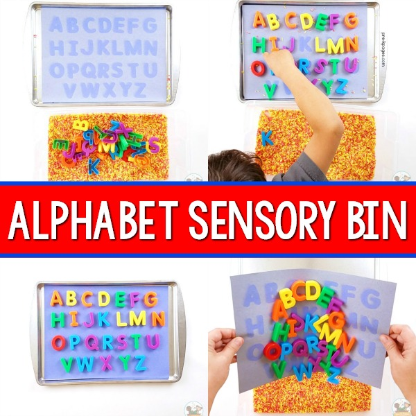 Alphabet Sensory Bin for Preschool