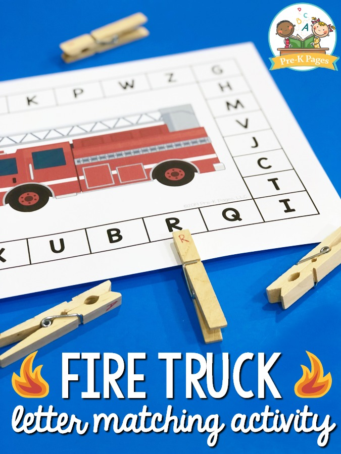 Fire Prevention Letter Matching Activity
