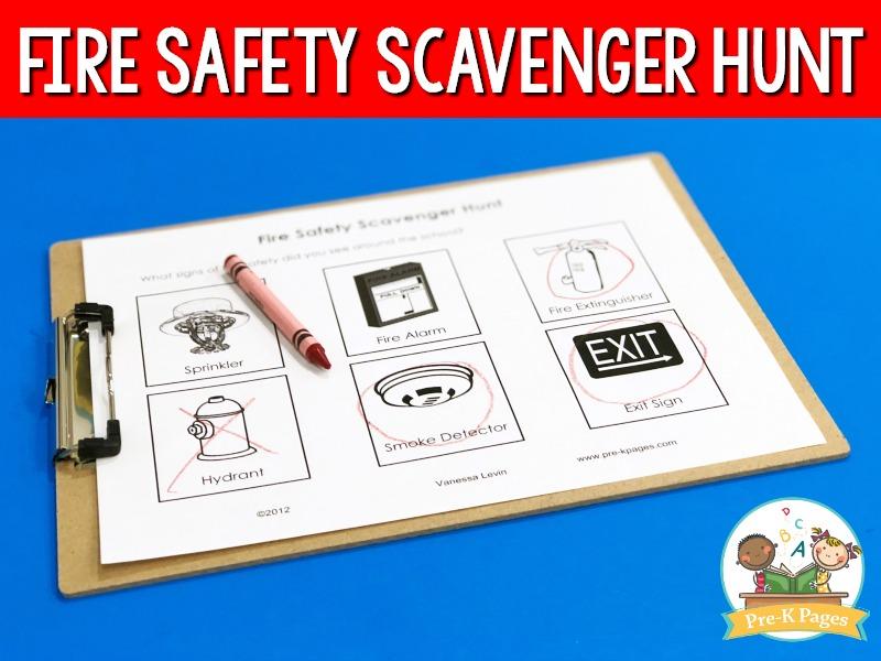 Fire Safety Scavenger Hunt Printable