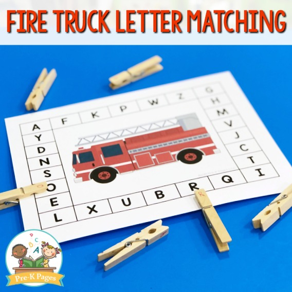 Fire Truck Letter Matching Activity