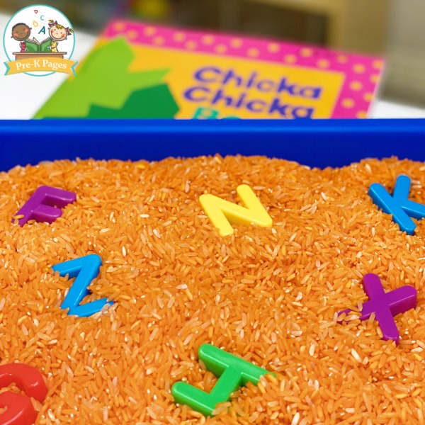 Letter Sensory Bin with Rice