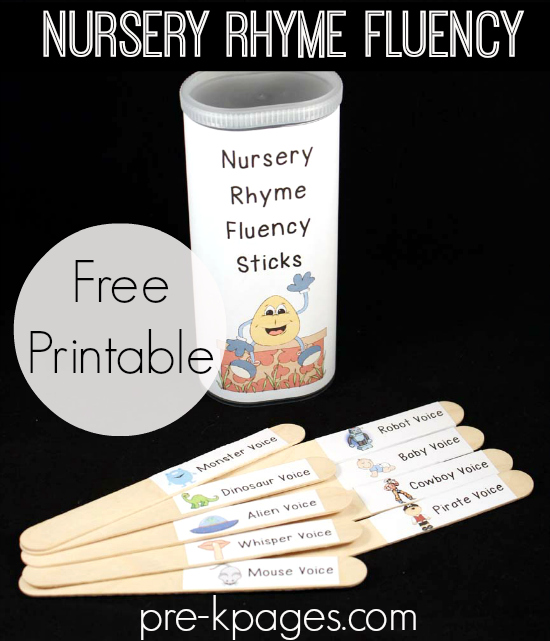 Printable Nursery Rhyme Fluency Sticks