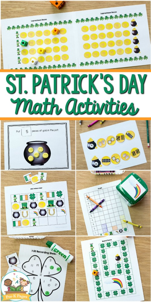 St. Patrick's day Math worksheets with gold, puzzles, counting sheets.