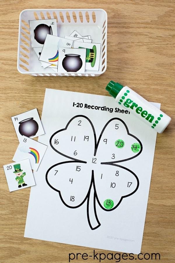 St Patricks Day Printable Number Game