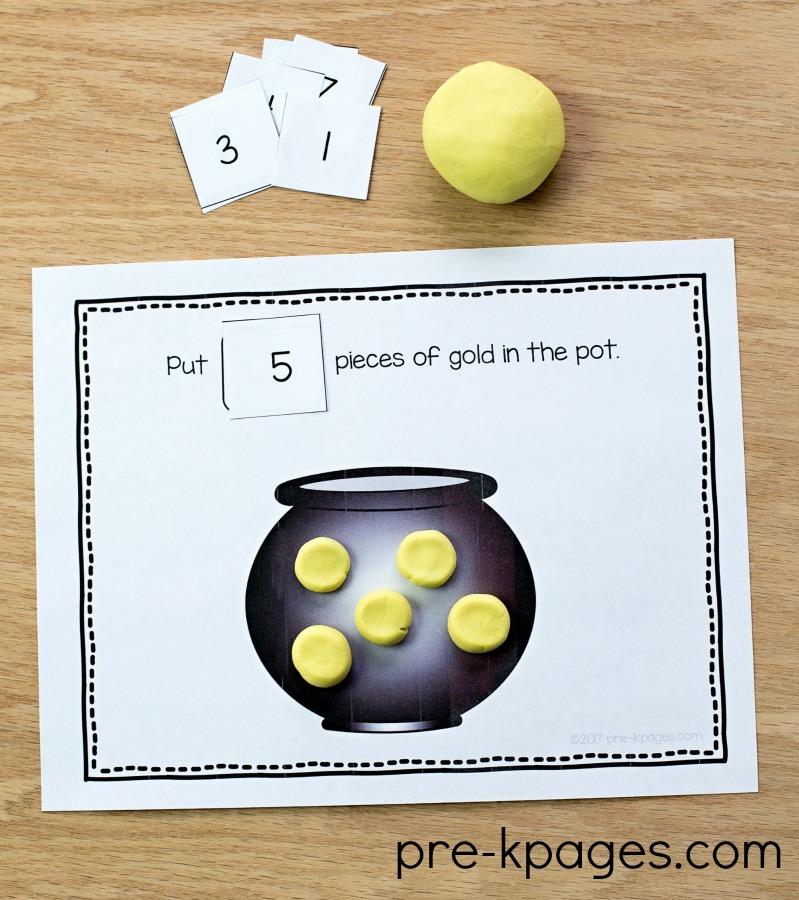 St Patricks Day Printable Playdough Counting Mats