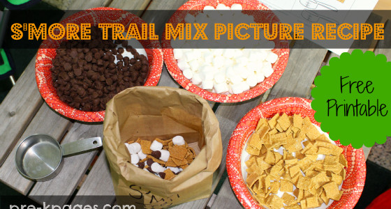 Free printable s'mores trail mix picture recipe for preschool and kindergarten.