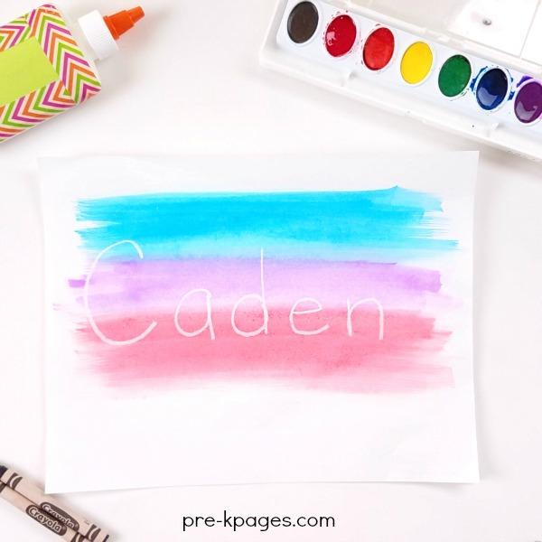 Crayon Resist Names with Watercolors in Preschool