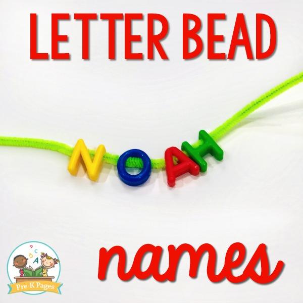 Letter Bead Names in Preschool