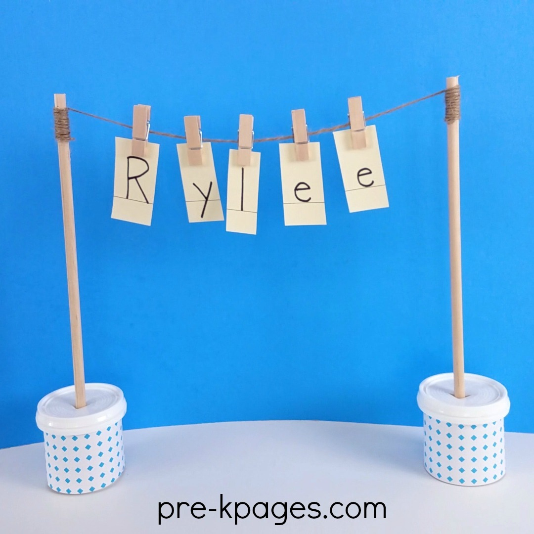 Name Practice with Clothespins in Preschool