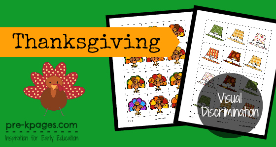Free Printable Thanksgiving Visual Discrimination Activity for preschool and kindergarten