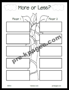 Jack and the Beanstalk More Less Printable Game #preschool #kindergarten