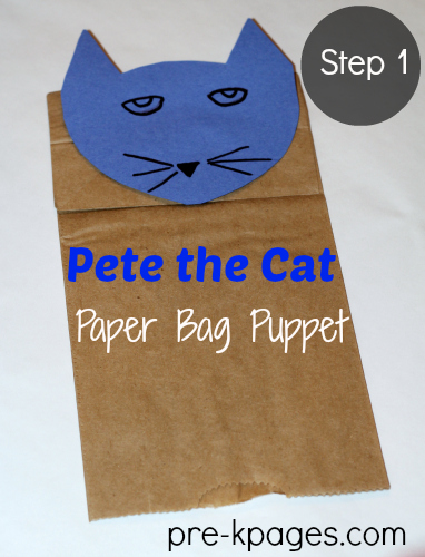 Pete the Cat Paper Bag Puppet for Teaching Alliteration Skills in #preschool and #kindergarten