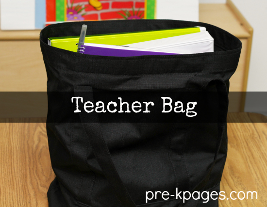 A teacher's work is never done. Tote bag full of papers to grade.