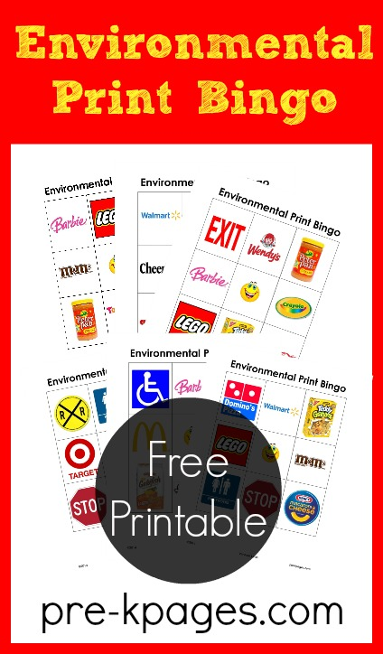 Environmental Print Bingo Game for Preschool and Kindergarten