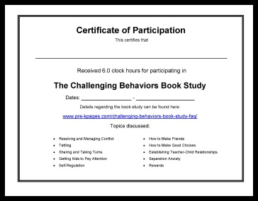 Challenging Behaviors Book Study Certificate