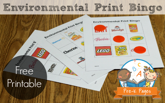 Printable Environmental Print Bingo Game