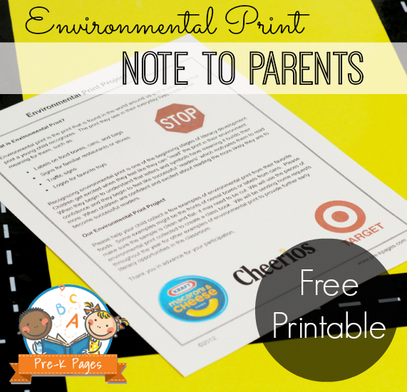 Printable Note to Parents about Environmental Print