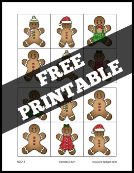 Gingerbread Same and Different Printable Activity for Preschool