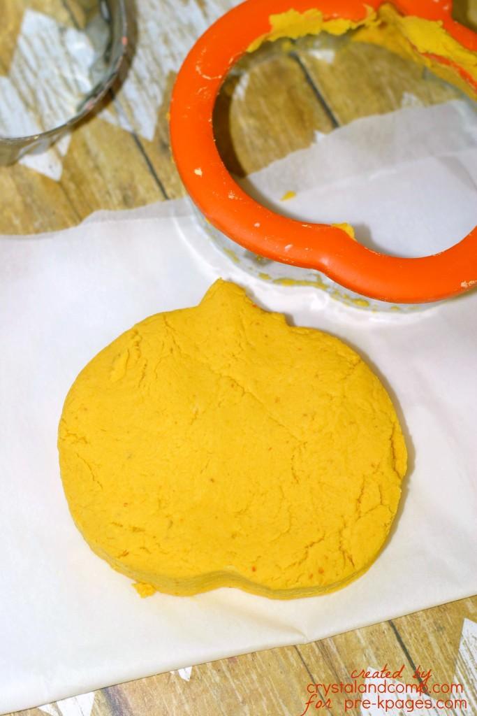 pumpkin play dough cut into pumpkin shape