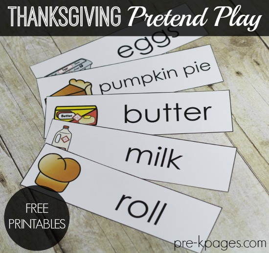 Thanksgiving Feast Dramatic Play Printables