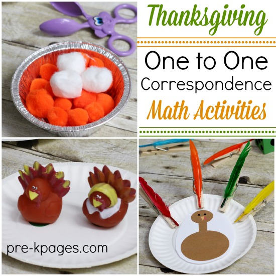 One to One Thanksgiving Theme Math Counting Activities for Preschoolers