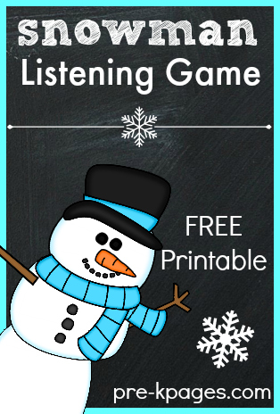 Printable Snowman Listening Game for Kids