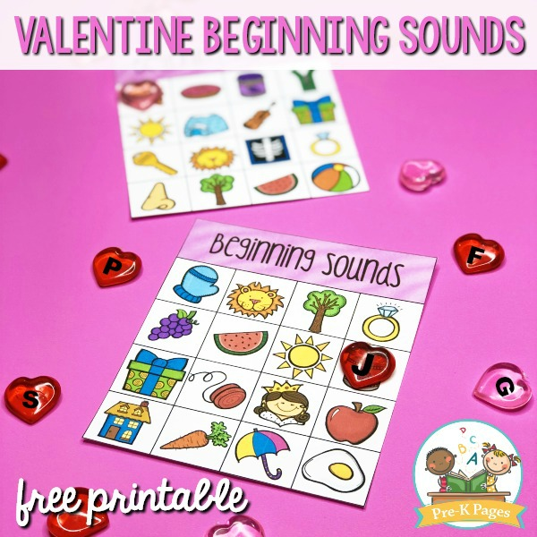 Valentine Beginning Sounds Alphabet Printable