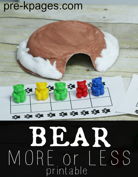 Bear Activity More or Less Math Game with Bears for Preschool and Kindergarten