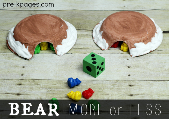 Bear Activity More or Less Game for Preschool and Kindergarten with Free Printable