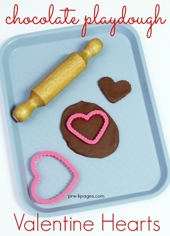 Chocolate Playdough for Valentine's Day in Preschool