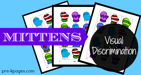 Mitten Visual Discrimination Printable