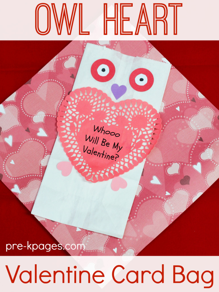 Owl Paper Bag Valentine Card Holder