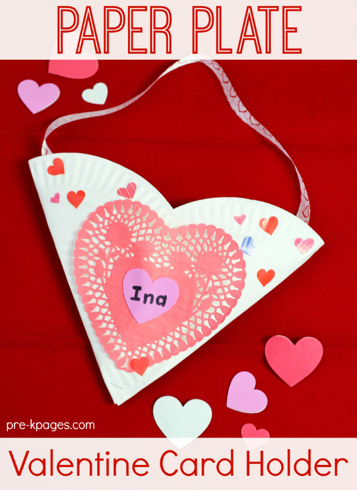 Paper Plate Heart Valentine Card Holder for Kids to Make