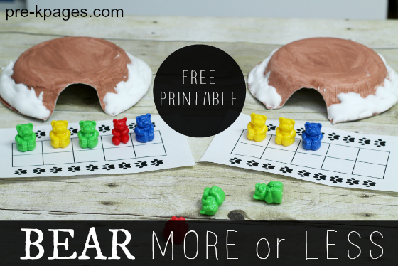 Printable More or Less Bear Activity for Preschool and Kindergarten