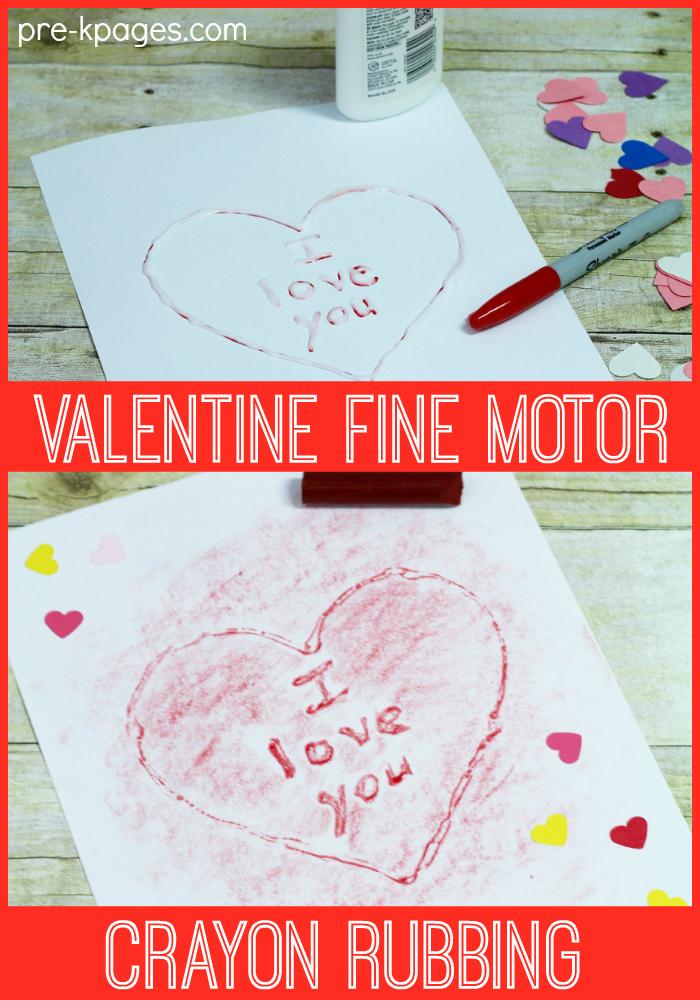 Valentine Fine Motor Crayon Rubbing Activity