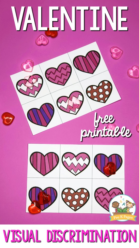 Printable Valentine visual discrimination activity