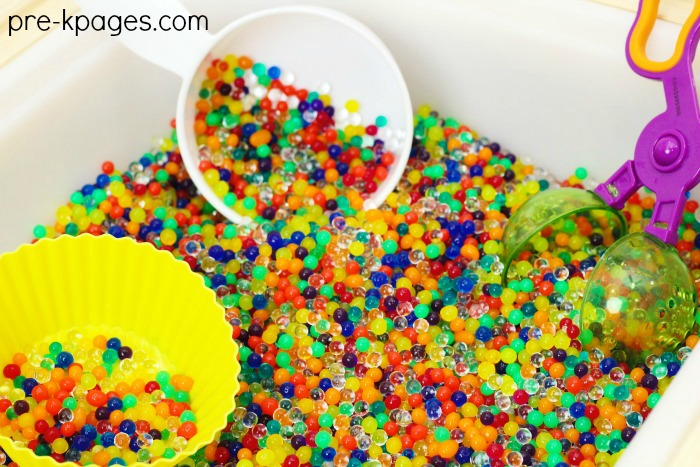 Rainbow Water Bead Sensory Bin for Preschool