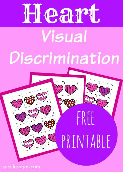 Valentine Visual Discrimination Activity for Preschoolers