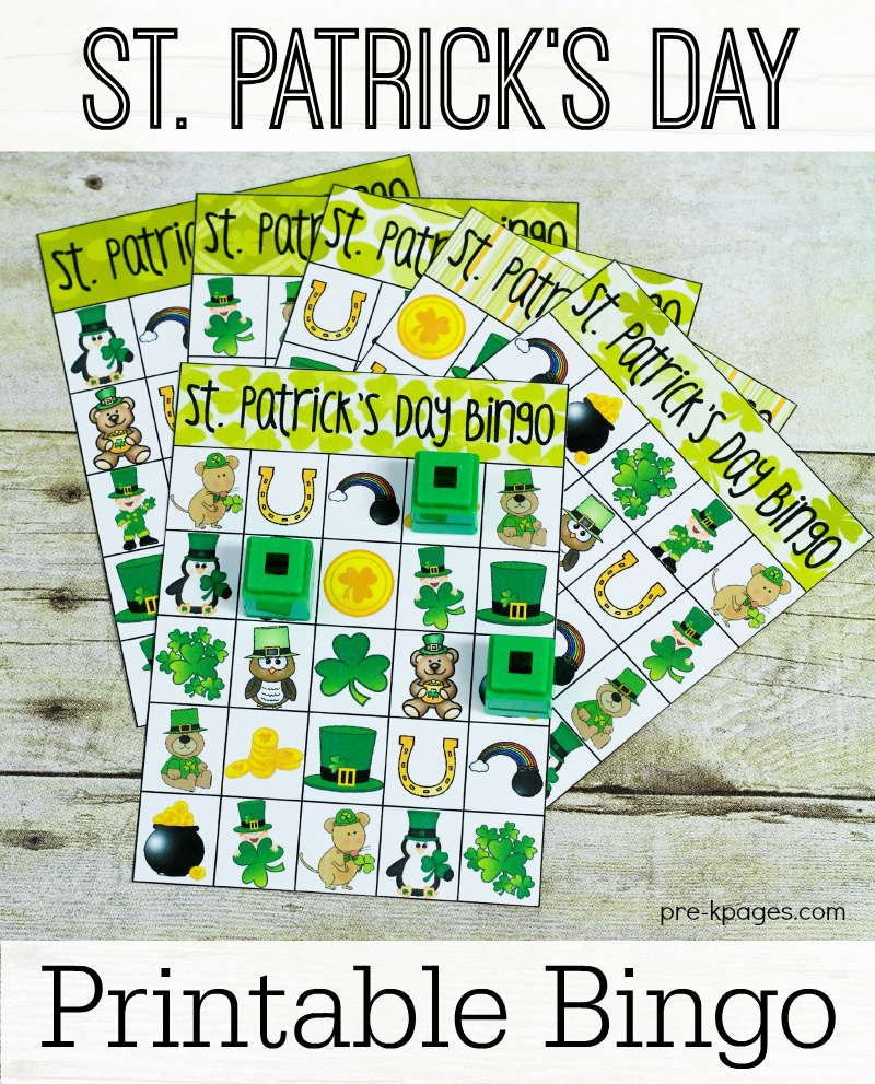 Printable Bingo Game for St. Patrick's Day in Preschool and Kindergarten