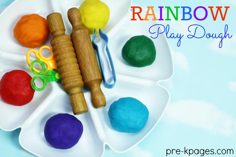 Rainbow Play Dough for St. Patrick's Day Fun in Preschool